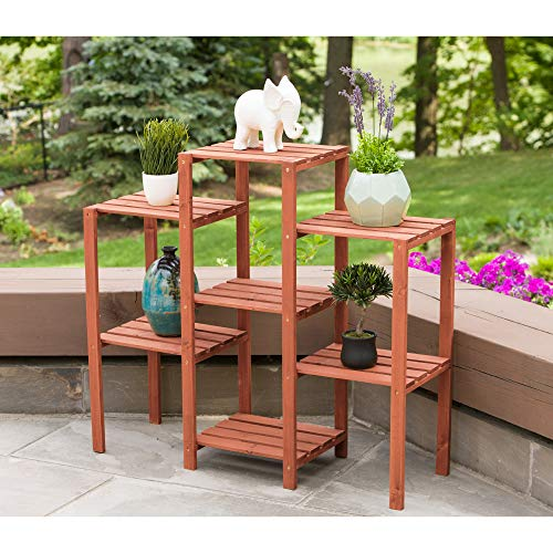 Leisure Season PS6117 7-Tier Flower Garden Plant Stand, Brown
