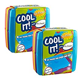 Fit and Fresh Cool Coolers Slim Lunch Ice Pack 1 Set of 4 slim reusable ice packs in fun bright colors Perfect slim size designed to use individually to fit into all types of lunch bags and boxes Ice packs are non-toxic and BPA Free