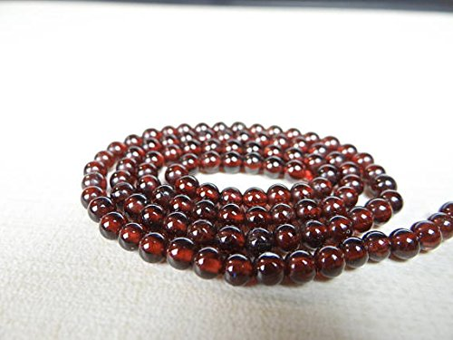 Red garnet smooth round beads 4mm 7.5 inch strand