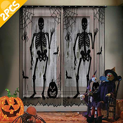 AerWo 2pcs Black Lace Halloween Window Curtains, Spooky Skeleton Spider Web Valance Door Panels Covers for Halloween Holiday Party Decoration, 40 x 84 Inch (Curtain Lace Black Panels)