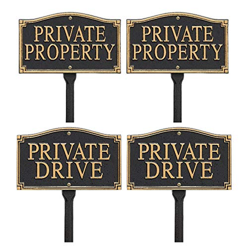 (Whitehall Private Property & Private Drive Lawn Plaque (Black/Gold) -4 Pack)