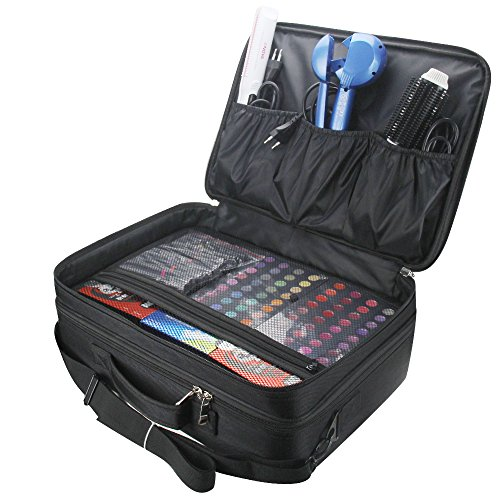 Relavel 3 layer Multi -Functional Professional Makeup Train Case Super  Large Makeup bag Organizer for Brush Hair Curler Salon Nail Beauty tool  Attach to ... c37ff04469c10