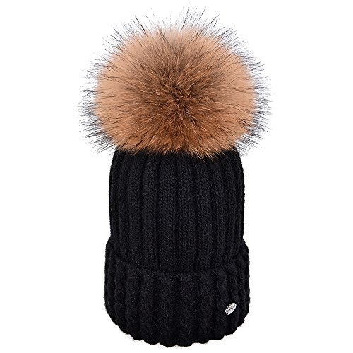 SOMALER Womens Pom Pom Knit Beanie Hats-Real Fox Fur Winter Wool Black Cuff Cap