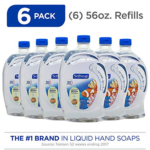 SOFTSOAP Liquid Hand Soap Refill, Aquarium, 56 Ounce Bottle (Pack of 6), Bathroom Soap, Bulk Soap, Premium Lightly Scented Hand Soap (Model Number: 126991)