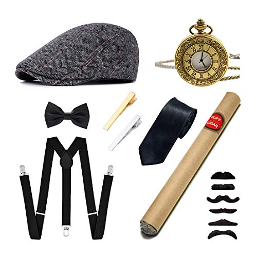 Ziyoot Men's 1920s Accessories Gatsby Gangster Costume Set Gangster Beret Y-Back Suspender (C 02 Grid -