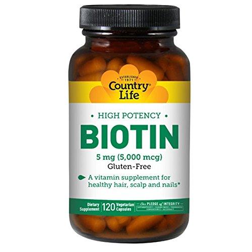Country Life - High Potency Biotin, 5 mg - 120 Vegan Capsules