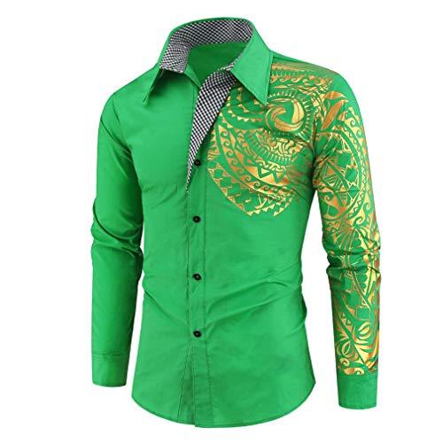 Men's Spring Fashion Bronzing Dragon Printed Business Lapel Dress Shirt Slim Fit Casual Shirt Long Sleeve Button Down Shirts,Green,XL