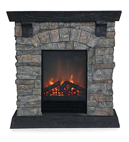Plow & Hearth Rockbridge Stacked Stone Electric Fireplace ...