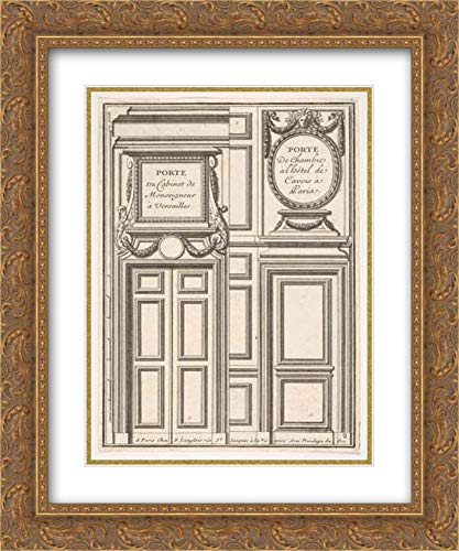 Jean Le Pautre - 28x36 Gold Ornate Frame and Double Matted Museum Art Print - Two Designs for Doors, one at Versailles and one at The Hotel Cavois in Paris, ()