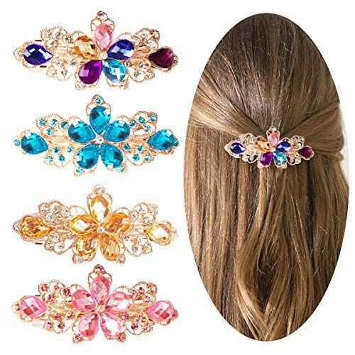 Jaciya 4 Pack Crystal Hair Barrette Mother's Day Gift Rhinestone Hair Clips French Barrette Flower Style Hair Pin Barrettes Spring Clip for Women, 4 Colors]()