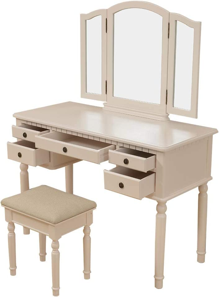 Polar Aurora Tri Folding Vintage Beige Dressing Table Makeup Vanity Set with Mirror and Cushioned Stool 5 Drawers