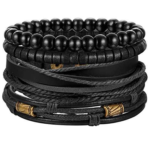 Jstyle 4Pcs Braided Leather Bracelet for Women Mens Cuff Bead Bracelet Set Adjustable Black