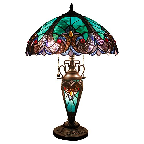 Stained Glass Lamp 3 Light W16 H24 Inch Tiffany Style Green Liaison Table Night Light for Living Room Bedroom Antique Dresser Coffee Table Beside Bookcase S160G - Lamp 16 Inch Stained Glass