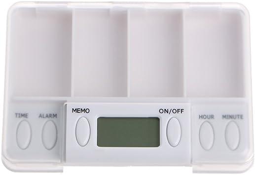 BulingLU Pastillas, recordatorio de medicamentos, alarma, temporizador, caja electrónica, organizador de 4 rejillas: Amazon.es: Salud y cuidado personal