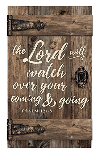 The Lord Will Watch Over Brown Distressed 14 x 24 Inch Solid Pine Wood Barn Door Wall Plaque Sign