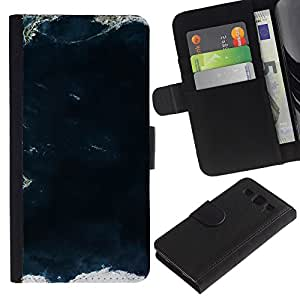 KingStore / Leather Etui en cuir / Samsung Galaxy S3 III I9300 / Vista al mar Ocean Waves Tierra;