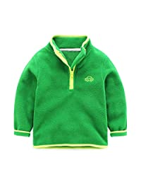 Mud Kingdom Boys Girls Fleece Sweatshirt Quarter Zip Jacket Car Embroidery