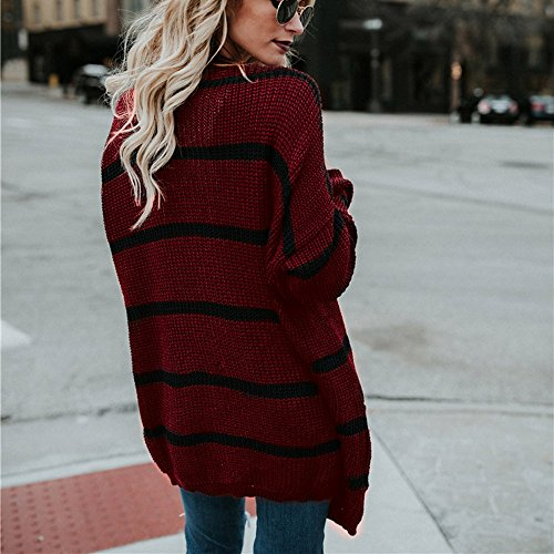 Jacket Clothing Fashion Cardigan Autumn Tianya Coat Stripe Sleeve Knitted Sweater Long Womens Crochet Wine Winter TxOzqHC