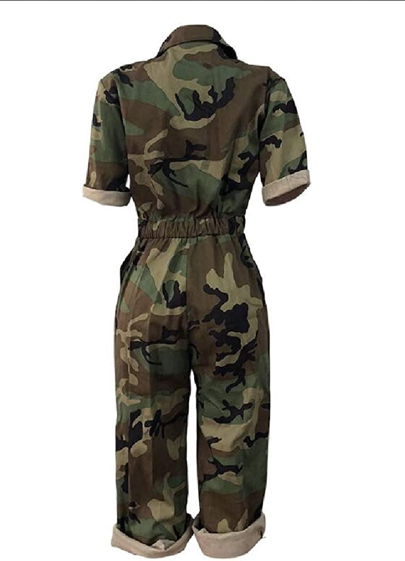 RRINSINS Women Fashion Casual Turndown Collar Camo Printing Short Sleeve One-Piece Jumpsuits Party Rompers