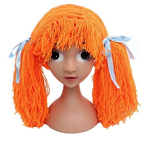 Lujuny Funny Girls Fake Hair Beanie Hats for Outdoor Festival Costume Hairloss Cancer Patients (Simple Cartoon Character Costumes)