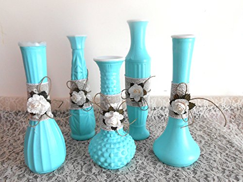 Vintage Milk Glass, Upcycled, Flower Vases, Bud Vases, Table Centerpieces, Wedding, Showers, burlap and Jute, White Flowers, White Roses, Mint Green, Hand - Bud Painted Vase Hand