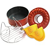 "Pressure Cooking Three Piece Bundle Set For Use With Pressure Cookers And Oven, Includes 7"" Spring form Bundt Pan, Steamer Trivet, Silicone Mitts"