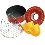 Pressure Cooking Three Piece Bundle Set For Use With Pressure Cookers And Oven, Includes 7'' Spring form Bundt Pan, Steamer Trivet, Silicone Mitt