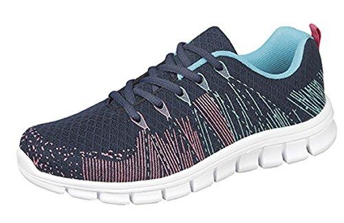 Ladies Dek Superlight StarLight - Zapatillas para correr, absorción de golpes Azul - Navy/Aqua/Fuchsia