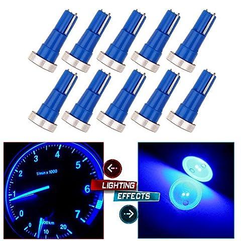CCIYU 10 Pack T5 Blue High Power LED Car Wedge Speedo Dashboard Dash Side Light Bulb Lamp