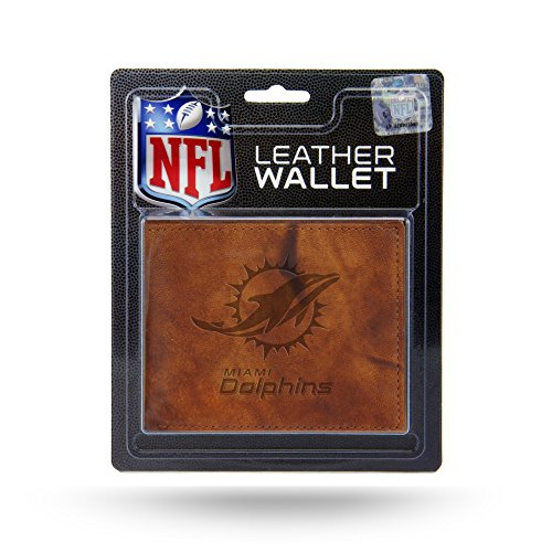Rico Industries NFL Miami Dolphins Embossed Leather Billfold Wallet with Man Made Interior