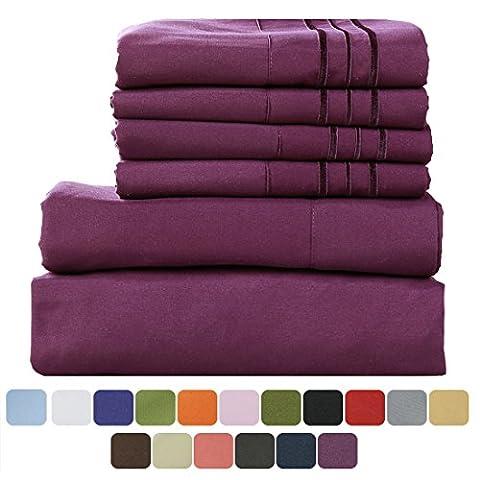TasteLife 105 GSM Deep Pocket Bed Sheet Set Brushed Hypoallergenic Microfiber 1800 Bedding Sheets Wrinkle, Fade, Stain Resistant - 6 Pcs(Purple, Cal - Polka Dots Teen Bedroom