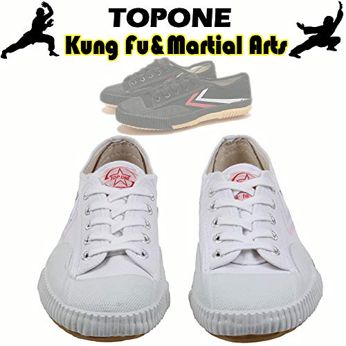 T.O.P ONE Kung Fu Martial Arts Parkour Shoes,Rubber Sole Sneakers-White 36(US Men 5|Women 6)