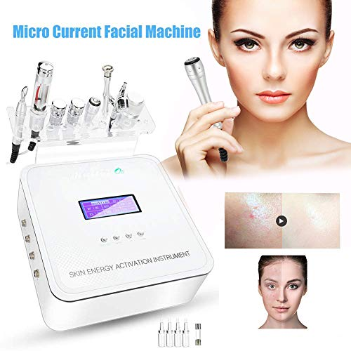 Radio Frequency Facial Machine, Skin Rejuvenation Instrument Hydro Oxygen Jet Spray Face Lifting Micro Massage Professional Home Use Deep Cleansing Whitening Skin Wrinkle Remove FDA Approved(White)