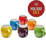 Premium Ceramic Set of 6, Colorful Meal Stoneware (6, Mugs)