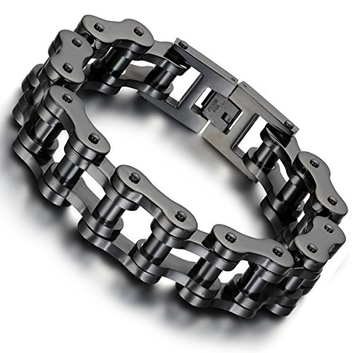 Flongo Men's Biker 18mm Wide Stainless Steel Black Heavy Motorcycle Chain Bicycle Link Bracelet, 9.13 inch