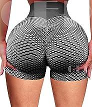 INSTINNCT Womens Sports Workout Shorts Scrunch Butt Lifting High Waist Squat Proof Compression Active Yoga Pan
