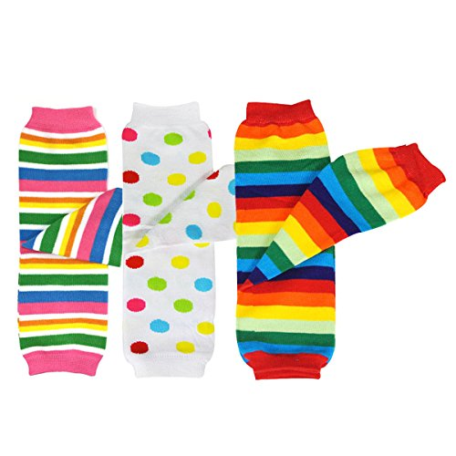Bowbear Baby 3-Pair Leg Warmers, Rainbow Dots and Stripes