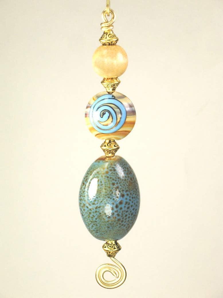 Diseño de Blue Sky Prairie Lampwork cristal luz o tirador de ...
