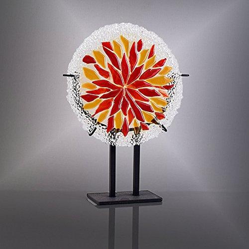 Fused Glass Art Mosaic Round Sunburst Panel with Gallery ()