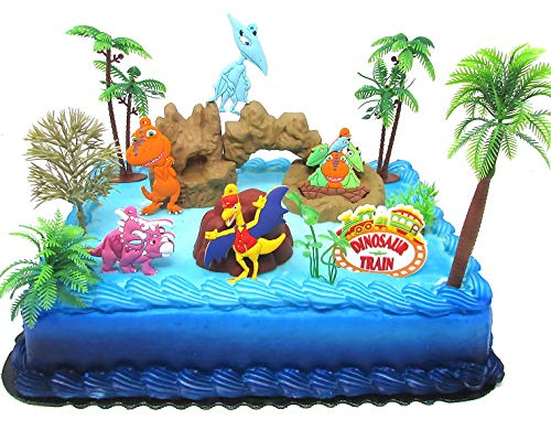 Dinosaur Train Birthday Cake Topper Set Featuring Dinosaur Train Friends and Decorative Themed Accessories by Cake Toppers