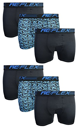 Re:Flex Men\'s Active Performance Boxer Briefs Underwear (6 Pack) (Small, Black/Blue Camo)' ()