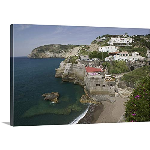 """GREATBIGCANVAS Gallery-Wrapped Canvas Entitled High Angle View of The Beach, Sant Angelo Beach, Ischia, Naples, Campania, Italy by 60""""x40"""""""