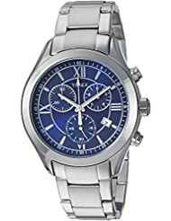 Timex Mens TW2P94000 Miami Chronograph Blue/Silver-Tone Stainless Steel Bracelet Watch