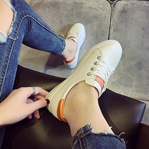 Sikye Chaussures De Sport Pour Femmes, Chaussures Blanches De Chaussures De Skate Couleur Unie Chaussures De Course De Gymnastique Pour Femmes Orange