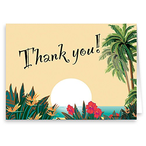 18 Boxed Thank You Note Card - Hawaiian Sunset - Tropical Thank You ()