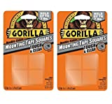 Gorilla 6067201 Mounting Tape Squares, Tough & Clear (2 Pack)