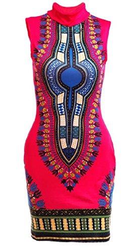 Jaycargogo Des Femmes De Dashiki Sans Manches À Col Montant Africain Robe Moulante 1