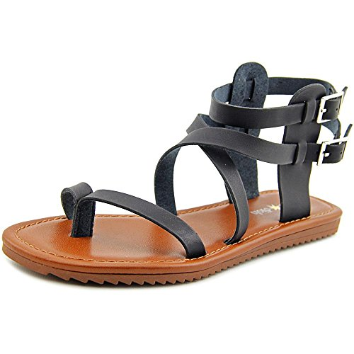 Sync Gladiator Split Dials Seven Womens Toe smooth Black Casual Sandals n7Rx6gRYE