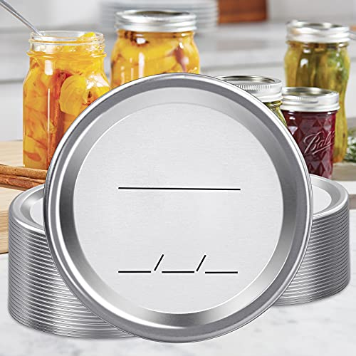 102-Count Canning Lids Regular Mouth for Ball or Kerr Jars, Split-Type Metal Mason Jar Lids for Canning - Food Grade Material, 100% Fit & Airtight for Regular Mouth Jars