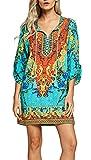 #7: Urban CoCo Women Bohemian Neck Tie Vintage Printed Ethnic Style Summer Shift Dress